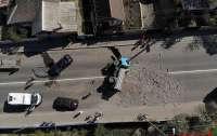 Грузовик перекрыл движение в городе после ДТП