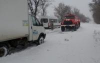 Пассажиры автобуса застряли в снегу (видео)