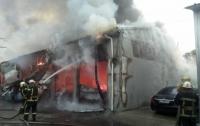 Крупный пожар на СТО в Киеве: три авто сгорели, четыре - повреждены (видео)