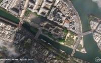 Последствия пожара в Париже показали из космоса