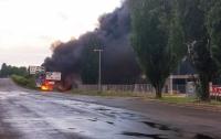 Под Киевом горит автомобильная заправка (видео)