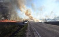 Движение по трассе перекрыто из-за пожара (видео)
