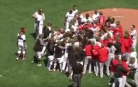 Бейсболисты устроили драку на поле (видео)