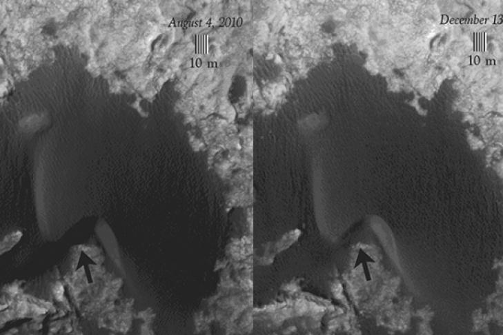 Марсоход Curiosity изучит на этой неделе «живые» марсианские дюны