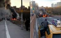 Несколько авто загорелись, погиб человек - трагедия на Бруклинском мосту (видео)
