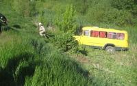 В Киевской области школьный автобус съехал в кювет