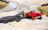 В Таиланде крокодил прикусил дрессировщику голову и сбежал