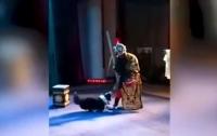 В Китае собака выбежала на сцену и напала на актера (видео)