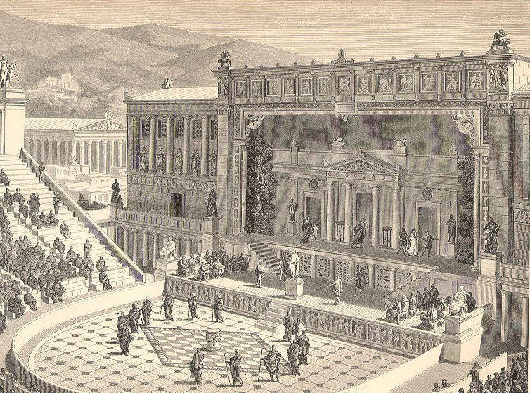 a comparison of the greek and the roman theaters Compare and contrast the greeks and the they both also loved theater but the greeks favoured high misfortune the greek and the roman empires enjoyed.