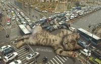 Индонезийский художник встраивает гигантских котов в городские пейзажи