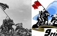 Русских ветеранов с плакатов поздравляют американские и немецкие солдаты