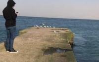 Непогода в Украине: коляску с ребенком сдуло в море (видео)