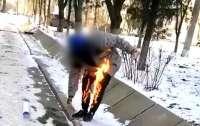 Мужчина совершил попытку самоподжога у здания Госгеокадастра в Херсоне