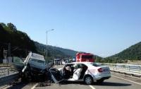 Водитель авто заснул за рулем и раздавил 6 человек (видео)