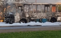 Под Кривым Рогом сгорел пассажирский автобус (видео)