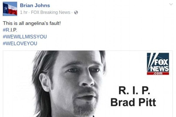 Брэд Питт пропустит премьеру фильма из-за развода сАнджелиной Джоли